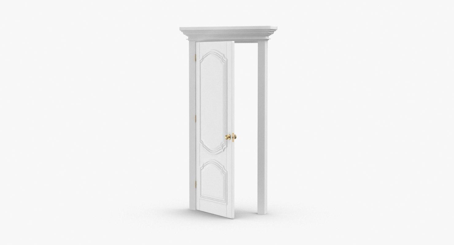 3D classic-doors---door-4-ajar model
