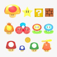 3D model items super mario