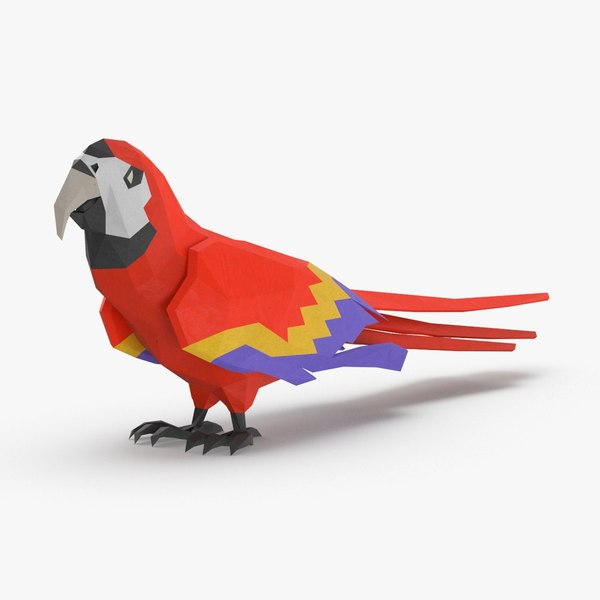 3D parrot----red-standing model