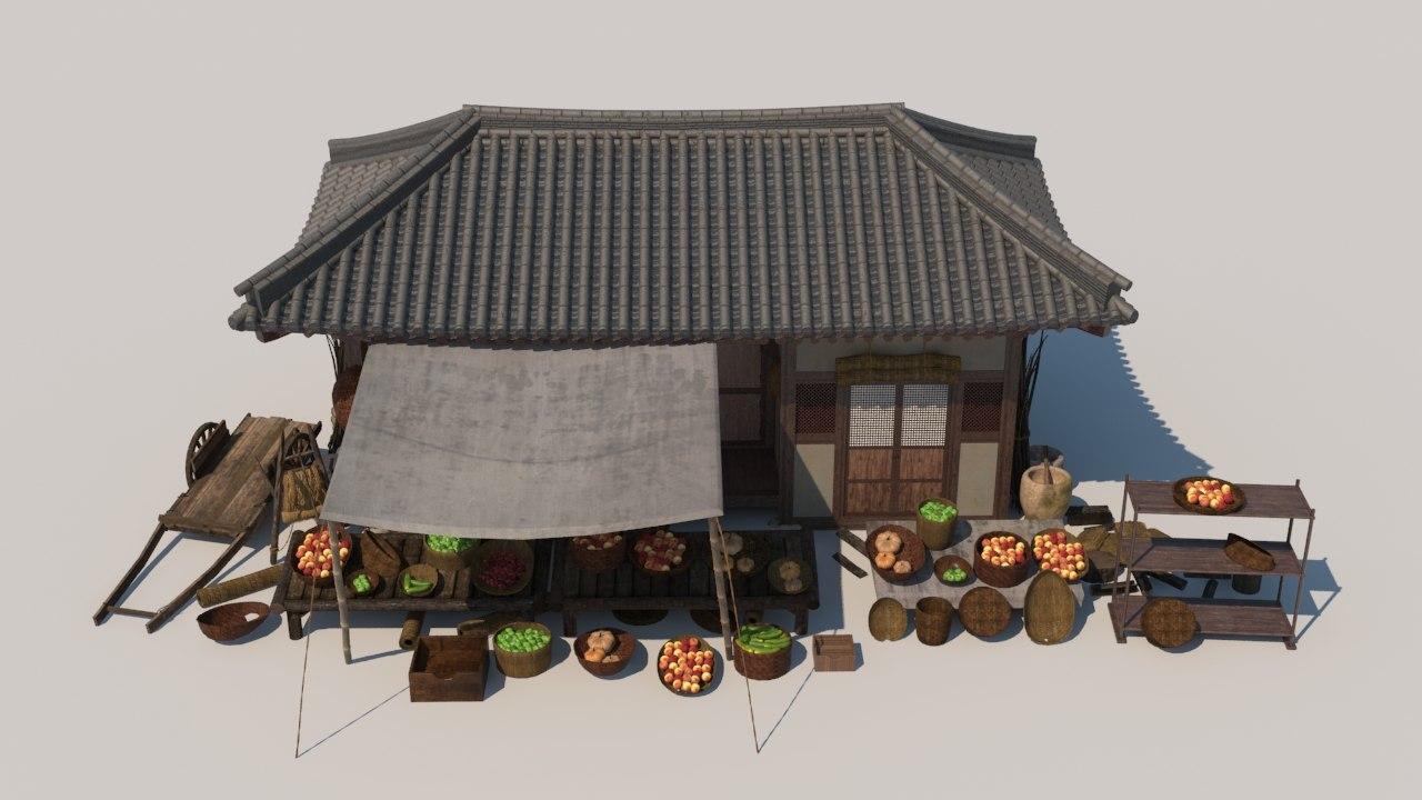 3D model asian classic fruits store