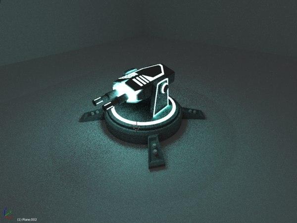 3D lighting gun tower model