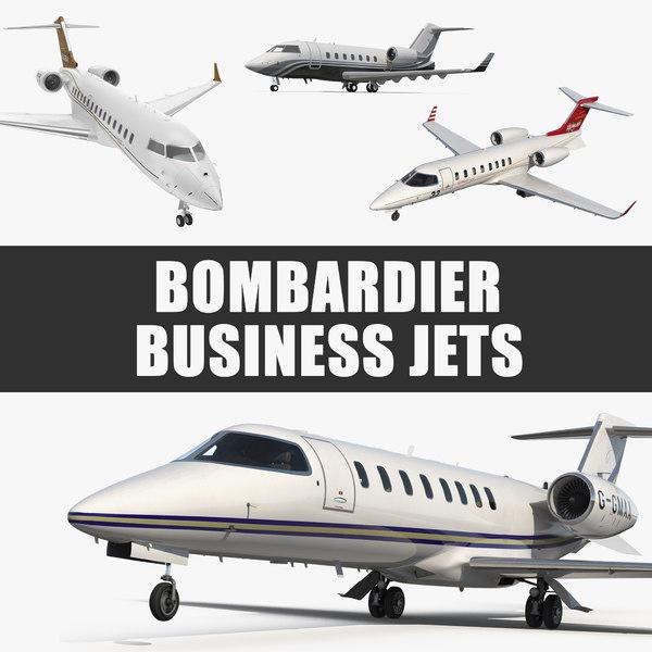bombardier business jets 3D