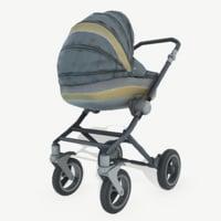 3D realistic baby stroller model