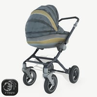 3D realistic baby stroller model
