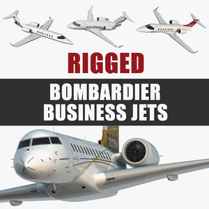bombardier business jets rigged 3D model
