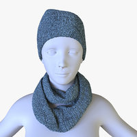 Low Poly Scarf & a cap with mannequin