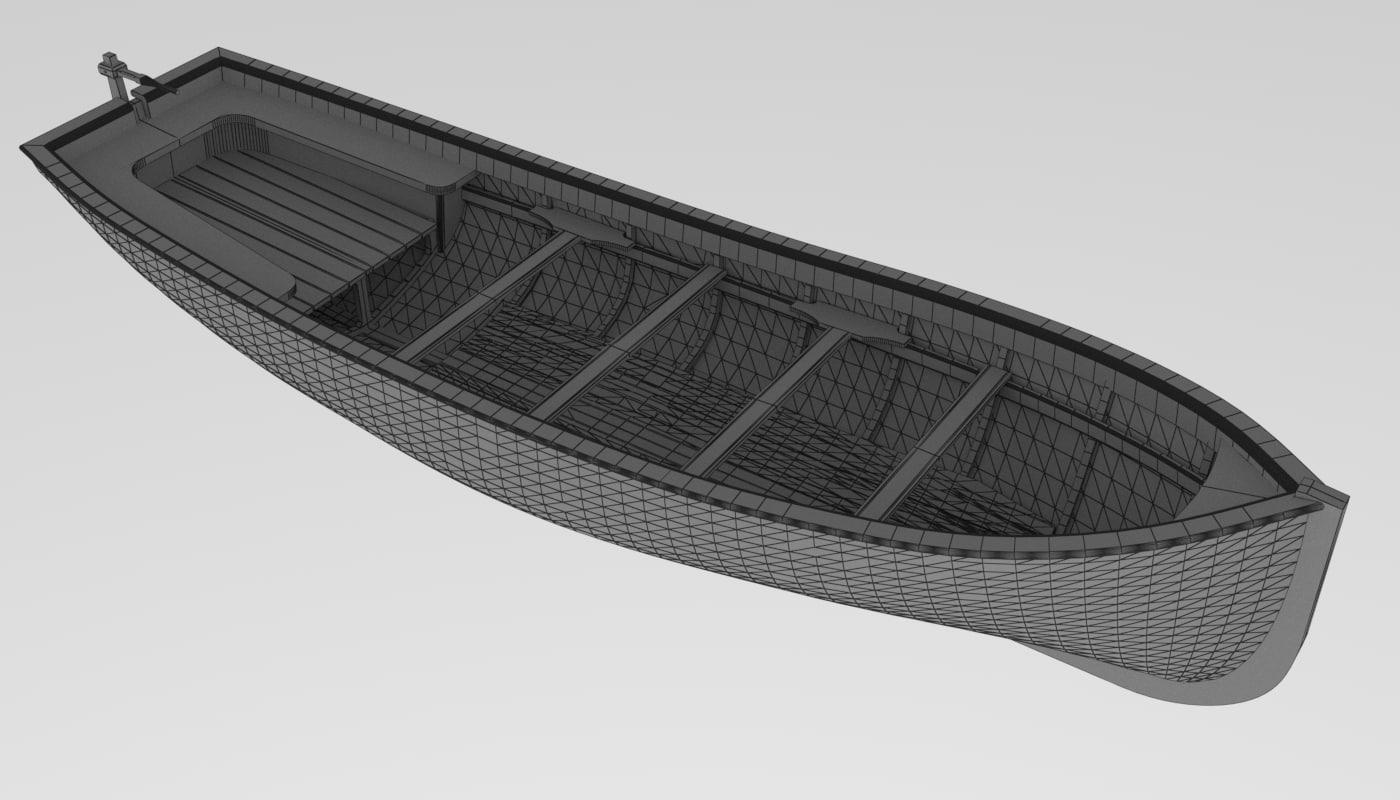 3D boat longboat