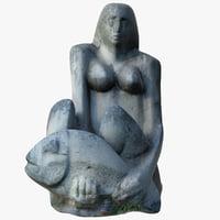 3D model woman fish statue