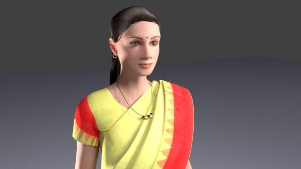 indian lady saree 3D model