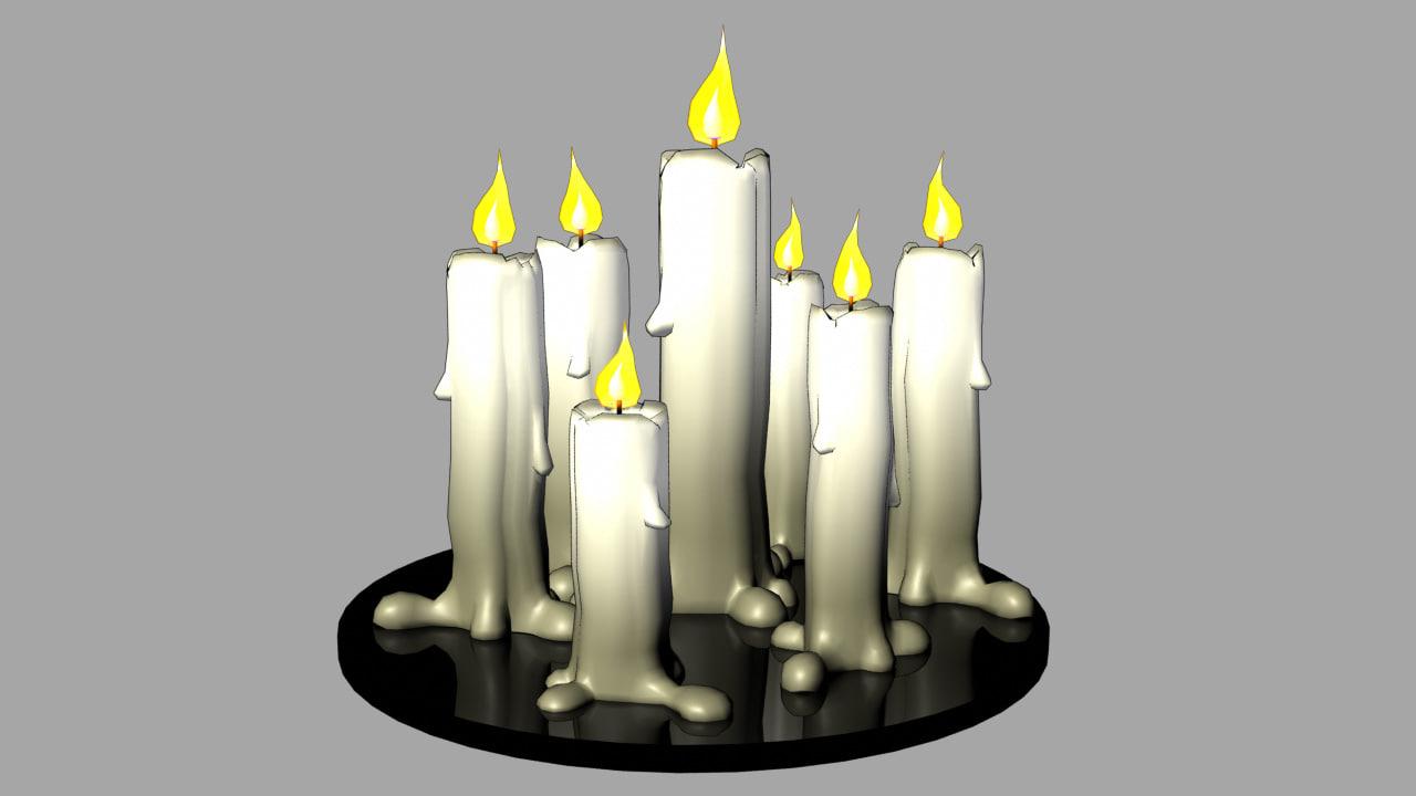 cartoon candles 3D model