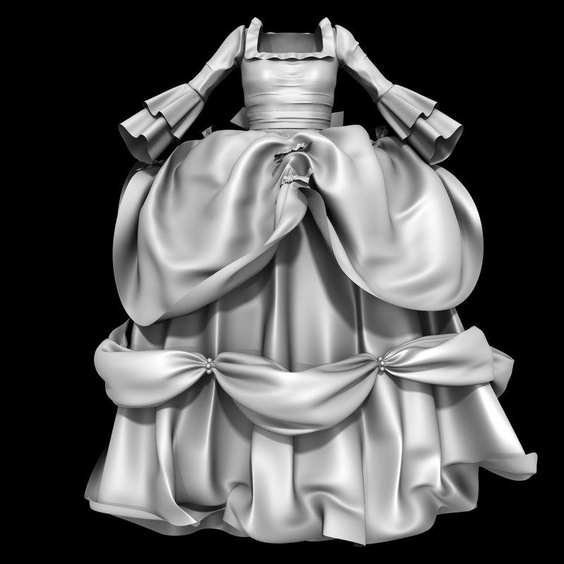 baroque ball gown dress model