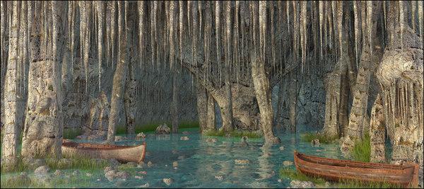 3D model landscape cave nature