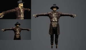 3D scarecrow halloween model