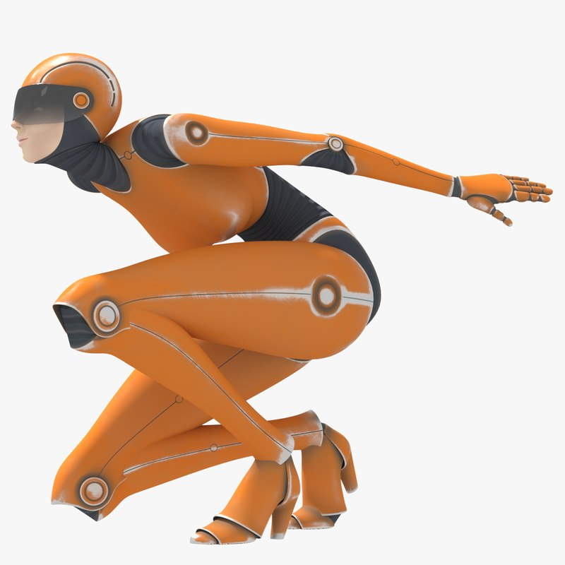 3D female robot rig model