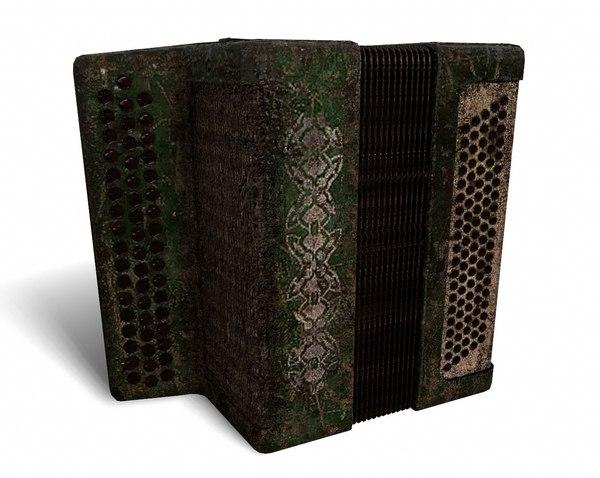 button accordion 3D model