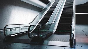 rigged subway escalator scene 3D