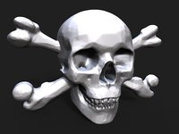 3D pirate skull bas relief