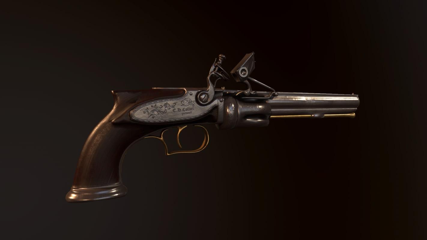 flintlock revolver gun 3D