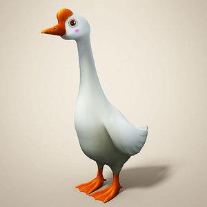cartoon goose toon 3D model