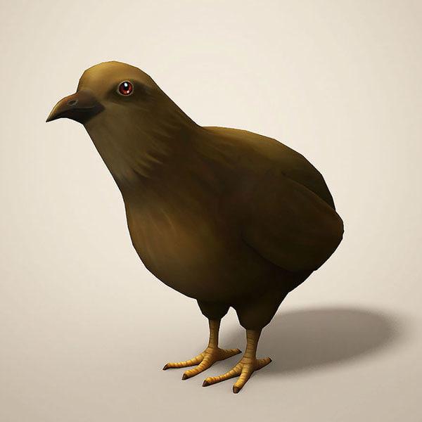 cartoon quail 3D model