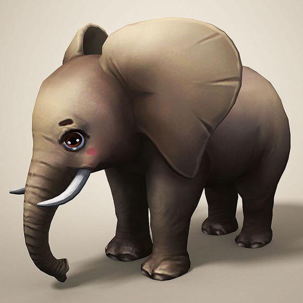 3D cartoon elephant model