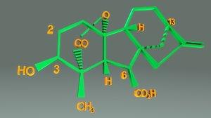 gibberellins plant hormones 3D model