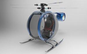 3D light helicopter model