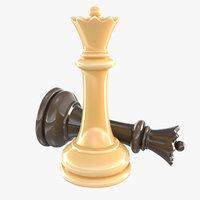 3D queen - chess piece model