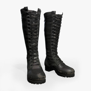 3D female leather boots model