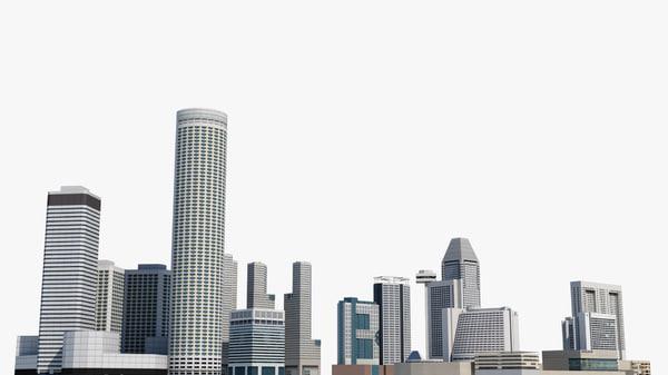 3D singapore 5 skyscrapers