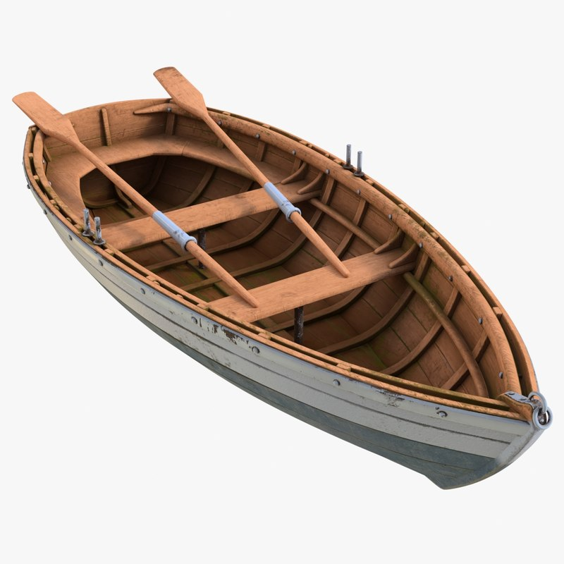 realistic old boat 01 3D model