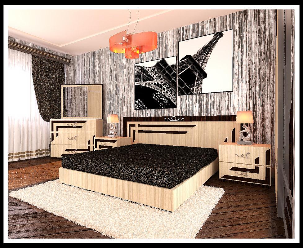 3D model bedroom paris afqan