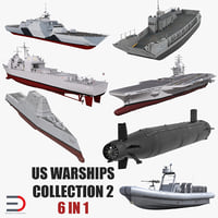 3D model warships 2 stealth ship