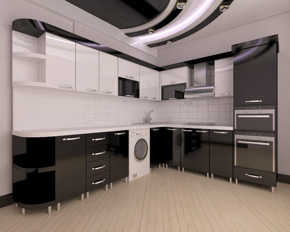 3D kitchen modern black elmeddin model
