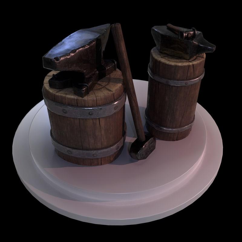 set blacksmith tools 3D model