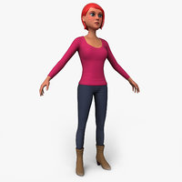 cartoony female character 3D