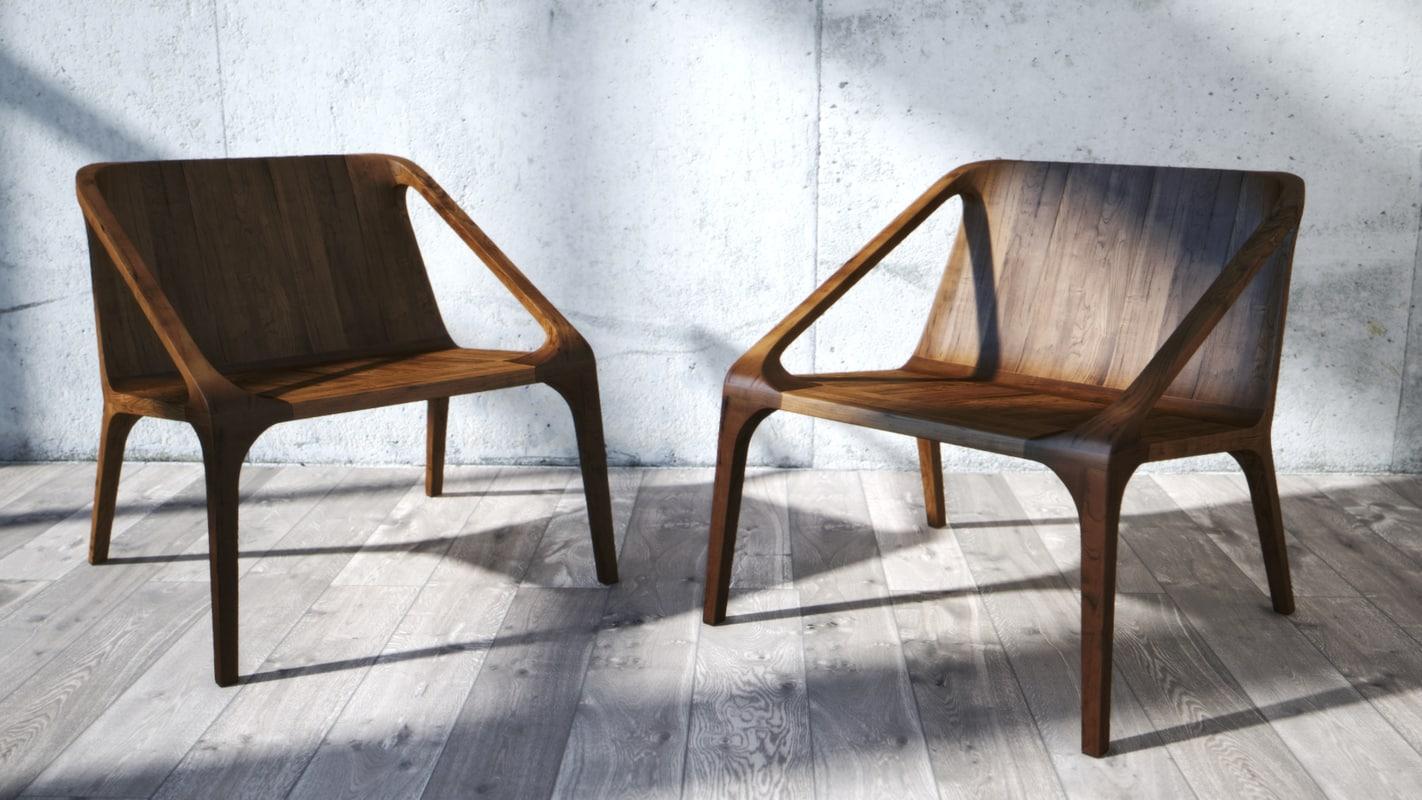 3D model wooden armchair