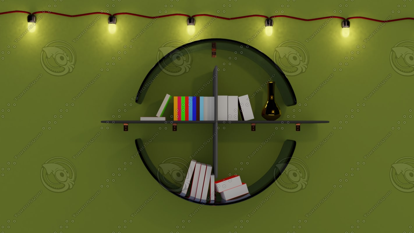 3D bookshelf pack 3 book shelf model