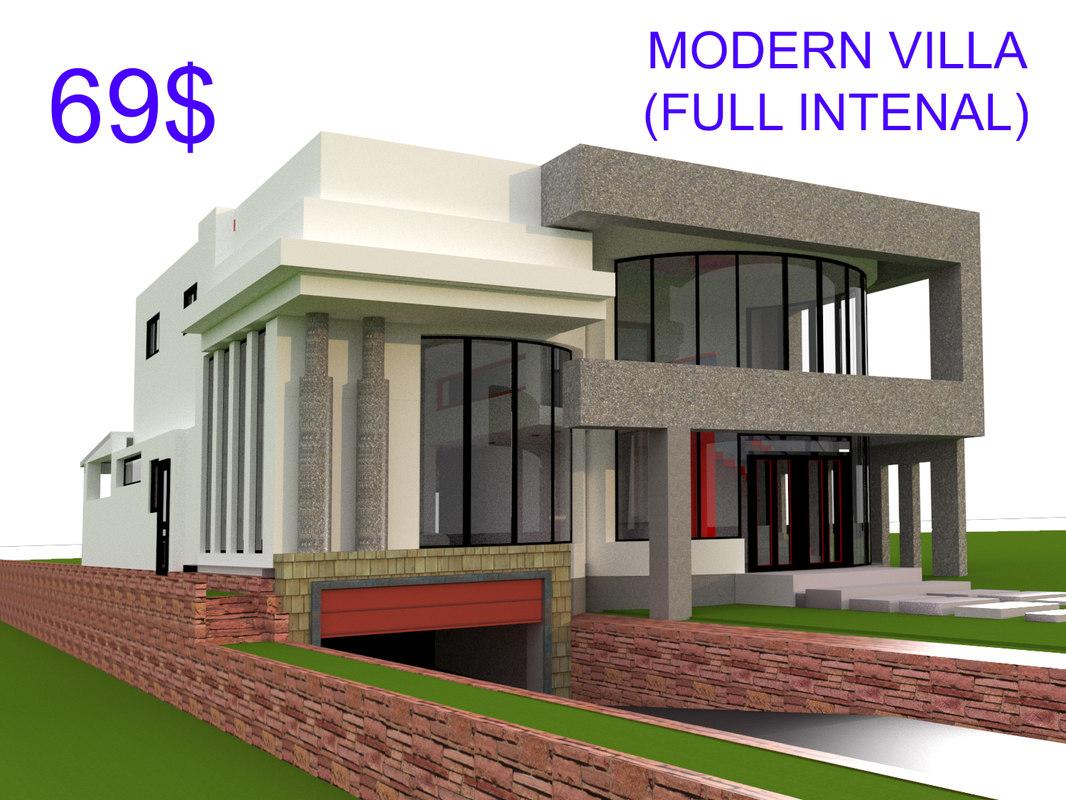 3d modern villa model turbosquid 1238599 for Model villa moderne