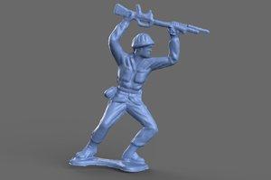green army man bayonette 3D model