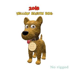3D yellow dog 2018 model