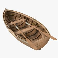 3D realistic old boat 02 model