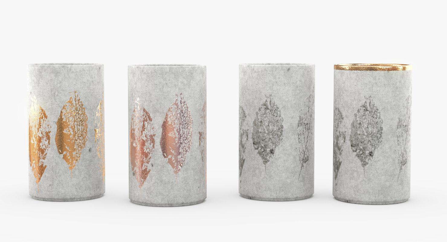 3D vases concrete leaves gilded