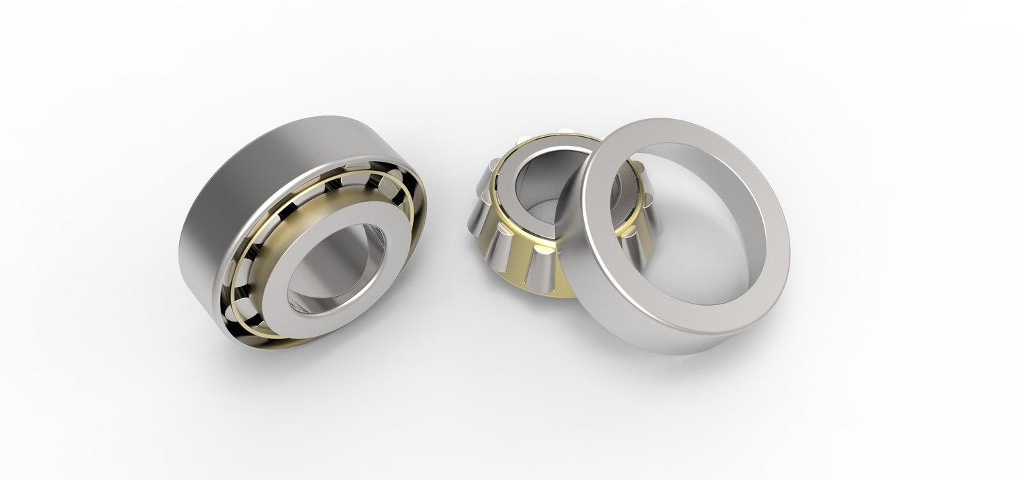 3D model angular contact roller bearing