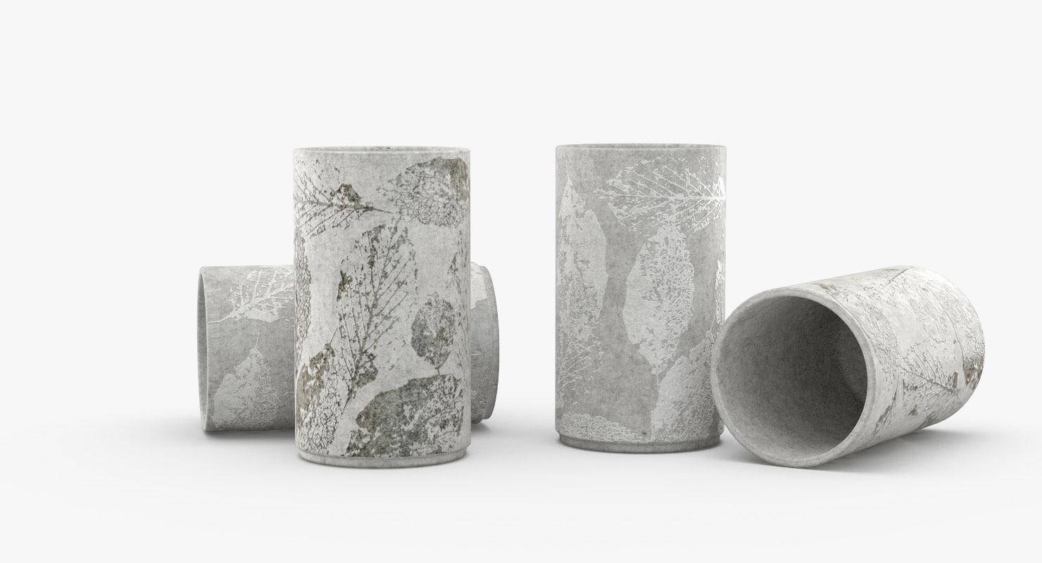 concrete vases embossed leaves model
