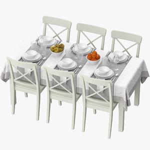 3D model ikea table dining set