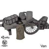 ue4 wooden cart 3D