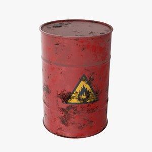 red barrel flammable 3D model