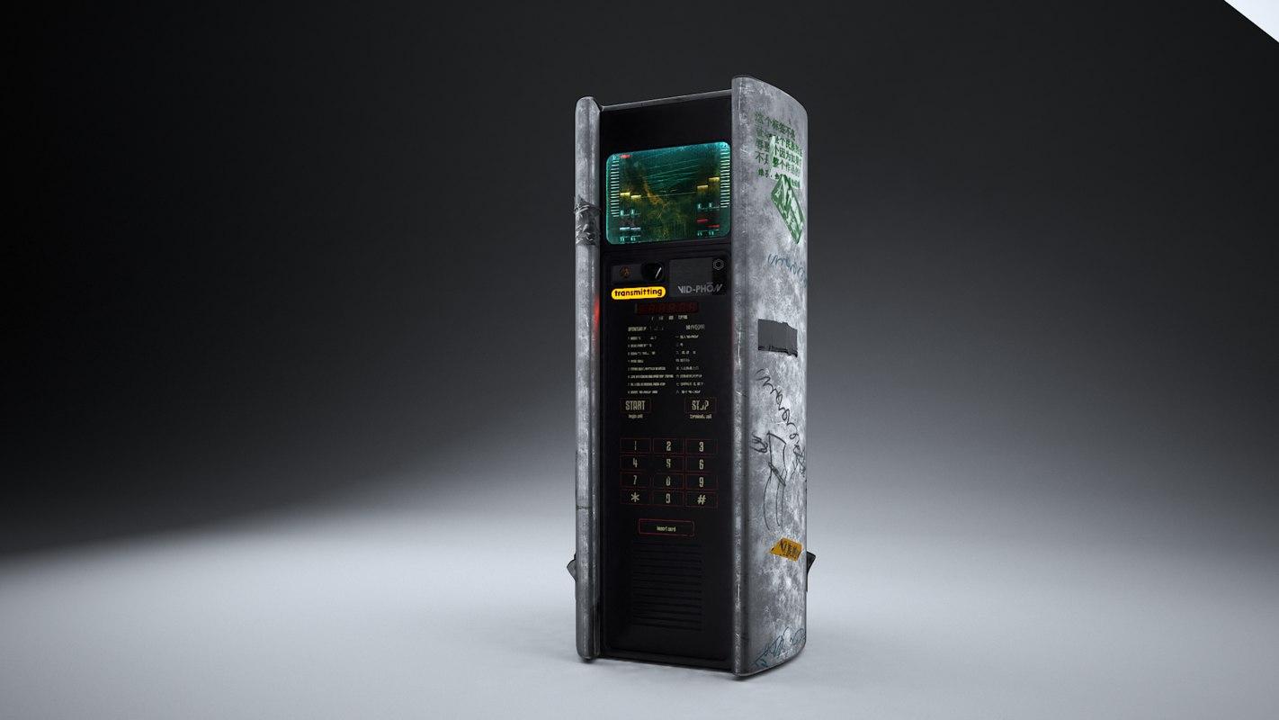 3D cyberpunk public phone terminal