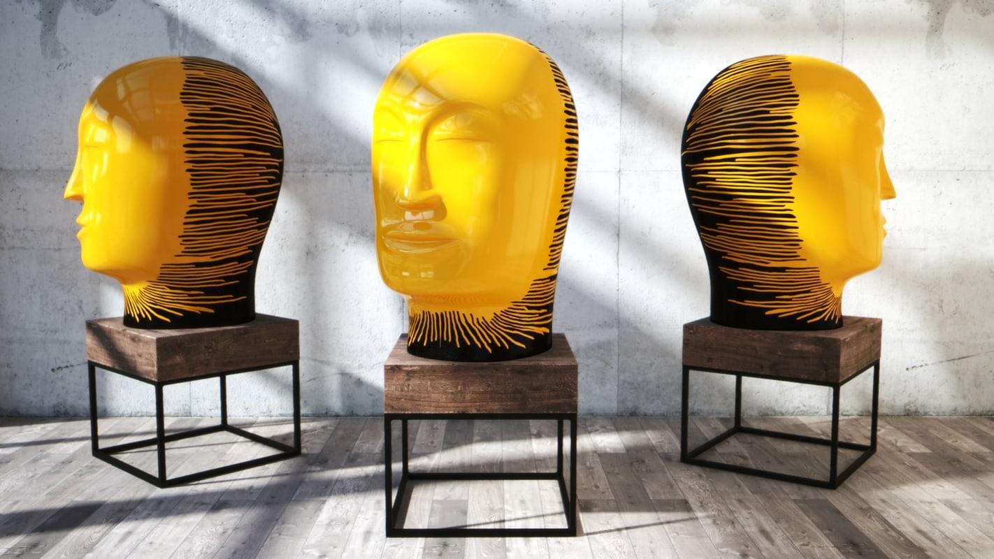 3D clay head jun kaneko